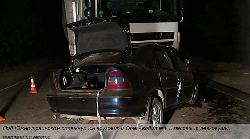 Под Южноукраинском столкнулись грузовик и Оpel - водитель и пассажир легковушки погибли на месте