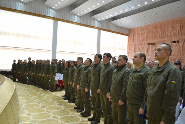 В воинской части, охраняющей объекты ЮУАЭС, провели мероприятия по случаю 4-й годовщины Национальной гвардии Украины